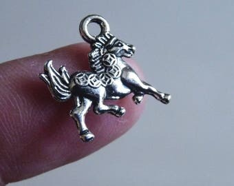 Horse Charms, Animal Charms, Horse Rider Charms, Metal Charm, Bracelet Charm, Necklace Charm, Antique Silver Tone Double Sided Horse Charms