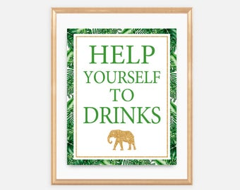 Help Yourself To Drinks Sign, Gold Safari, Green & Gold, Tropical, Leaves, Jungle, Animals, Greenery, Summer, Green and Gold, 043