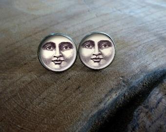 Boucles d'oreilles puces cabochon puce la lune qui sourit Boucles d'oreilles rétro vintage, Boucles d'oreilles cabochon