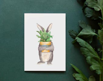 Rabbit Plant Watercolor Illustrated Greeting Card