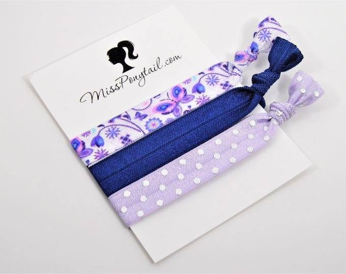 Butterfly Hair Ties, Butterflies, Purple, Navy Blue, Knotted Hair Ties, Yoga Hair Ties, Handmade Hair Ties, Ponytail, Girls Hair Ties, FOE