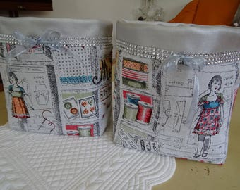 fabric sewing notions and silver leatherette pouch