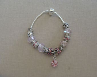 Bracelet aged rose ball silver charms pink glass beads