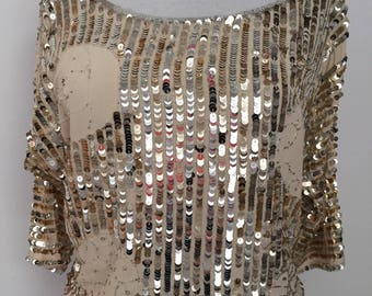 Champagne Gold and Silver Sequins Party Disco 3/4 Sleeve Crop Top