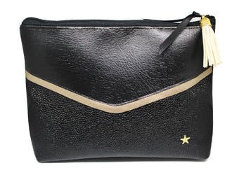 Black and gold imitation leather pouch