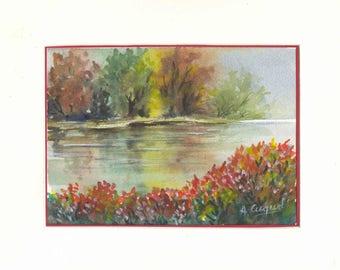 The river - original watercolor painting