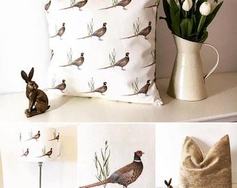 Pheasant print linen cushions and lampshades