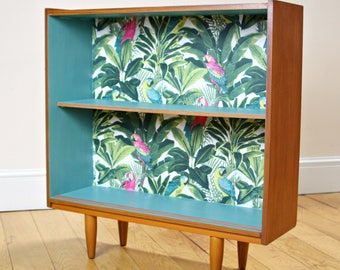 Unique Upcycled Mid Century Bookcase in Teal & Teak with Tropical Design