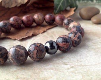 Men's Jasper Bracelet, Leopardskin Jasper and Hematite Bracelet, Gemstone Stretch Bracelet for Men, Shamanic Jewellery, Spiritual Jewellery