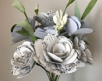 Music Paper Rose Bouquet, Blue and Music