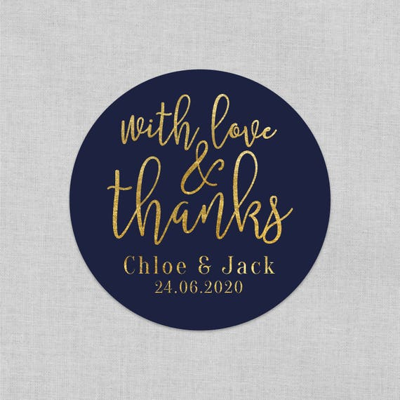 Wedding favours sticker, With love and thanks, Wedding stickers personalized, Wedding stickers and labels, Wedding favours for guests