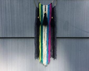 Handmade colorful boho wall hanging