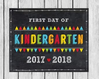 Kindergarten Sign, Back to School, School Printable, First Day of School Sign, Photo Booth Prop, Chalkboard Sign, Instant Download