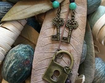 Handmade, Boho, Industrial, Steampunk, Beach, Bronze, Lock and Key Charm, Turquoise Bead, Dangle, Drop, Earring & Pendant Set