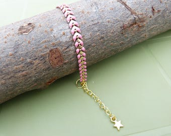 Pink chained spike enameled bracelet