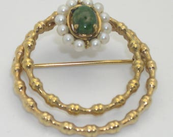 Vintage Gold Filled Green Cabochon & Faux Pearl Double Circle Brooch/Pin--Signed B.B.