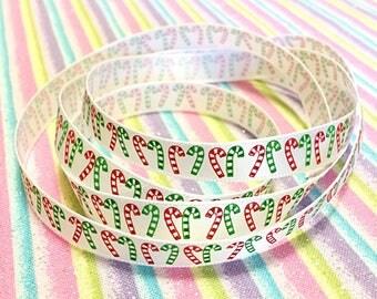Christmas holiday candy cane ribbon