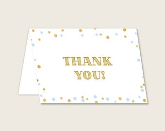 Thank You Card Baby Shower Thank You Card Confetti Baby Shower Thank You Card Blue Gold Baby Shower Confetti Thank You Card prints cb001
