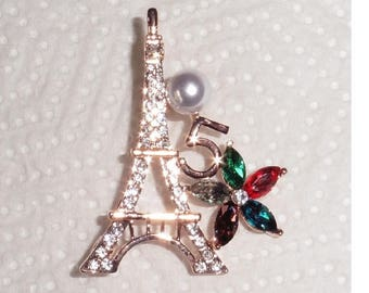 Gold Plated Eiffel Tower 5 Camelia Flower Brooch