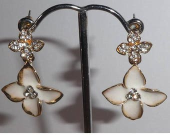 Clover Flower with Rhinestone dangly earrings