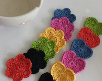 Cotton face scrubbies in heart or flower shapes for cleansing and make up removal. Reuseable face pads, ecofriendly and vegan