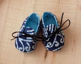 Blue and White Indian Batik Print Baby Booties