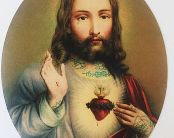 Sacred Heart Print, Tattoo Jesus, 8x10