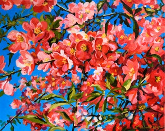Quince Blossoms acrylic painting