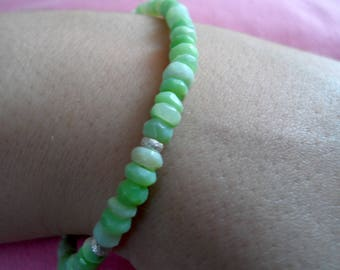Green Opal and Silver Bracelet.