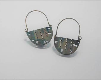 Reversible Pierced Sterling Silver Dangle Earrings