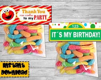 Elmo birthday decoration - Elmo Party-  Elmo party decoration - Elmo Printable birthday labels- Birthday Printable tags- Elmo favor bags