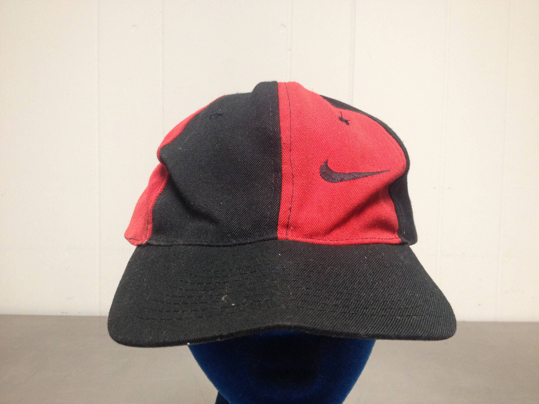 13cf813c7f6 ... red mens baseball hat swoosh jordan vtg 723f0 9112d  low cost vintage  90s nike pin wheel colors adjustable snap back dad hat minimal sports cap