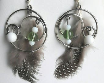 Drop earring, feathers, beads, Creole, designer jewelery