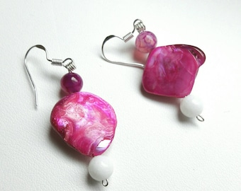 Agate and white jade, 925 Sterling Silver Pink mother of pearl earrings