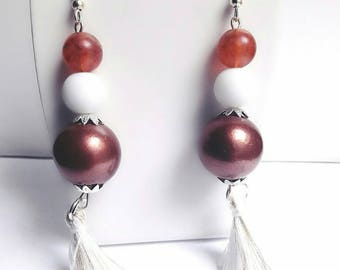 Chic earrings copper and white with tassels