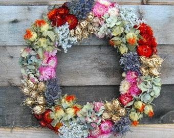 Dried flower wreath, floral wreath, door wreath, dried floral, indoor wreath, all year wreath, Christkmas decoration, Boho