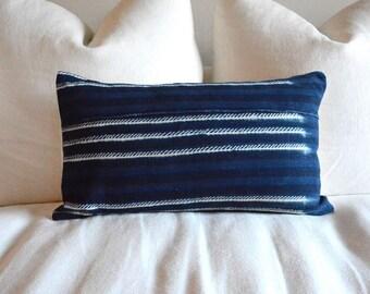 Indigo African Mud Cloth Lumbar Pillow #1 - 14X22