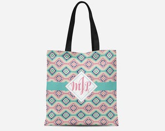 Customized Tote Bag - 16x16in Tote Bag - Personalized Tote - Pastel Pattern