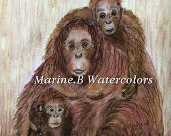 Watercolor Orangutan Art Print/ Nursery Wall Art 8 x 10 in