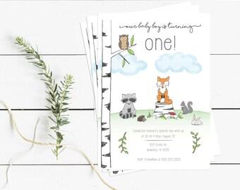 Woodland Animals Birthday Invitation - Printable Instant Download