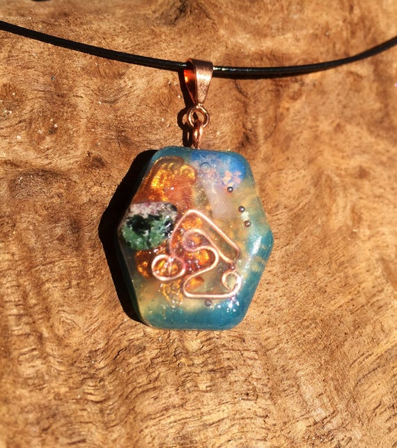 Solar Energy Orgonite® Pendant- Air and Fire Element Magikal Orgone Charm- Vibrance Abundance & Manifestaion- Get Noticed- Orgonite Necklace