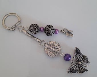 Butterfly bag charm or key holder violet beads
