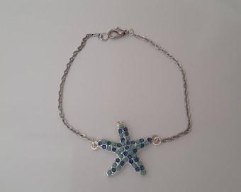 brcelet Star Silver starfish and blue rhinestones