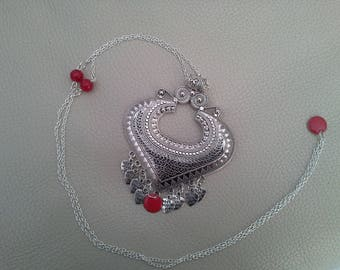 Ethnic beaded Silver Heart Necklace Red