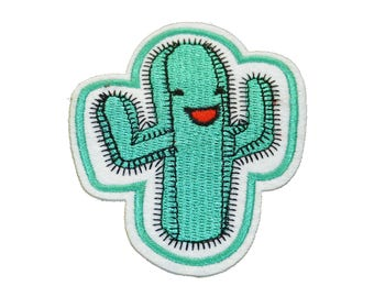 Patch/ironing-cactus laughs plant-green-8.3 x 6.9 cm-by catch-the-Patch ® patch appliqué applications for ironing application patches patch