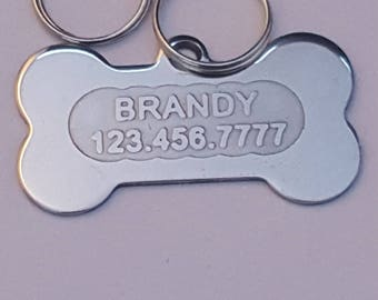HandmadeA 15-Free Shipping-Handmade -Dog Tag -Dog ID Tag - Dog Name Tag -Deep Engraved  STAINLESS STEEL Pet Tag Deep Etched 3-D letters