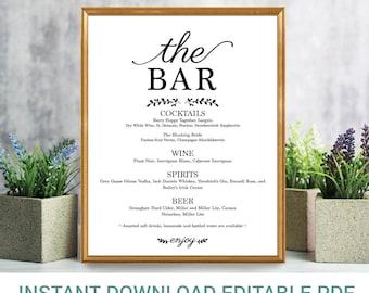 Editable Bar Menu Sign | Editable Sign | Drinks Menu Sign | Reception Sign | Alcohol Sign | Wedding Bar Sign | Instant Download