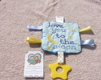 Love you to the moon and back teething comforter