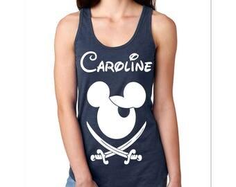 Women's Disney Family Shirts I Matching Disney Shirts I Mickey Pirate Customized with Name for the Family I Disney Tank Tops Wear to Disney