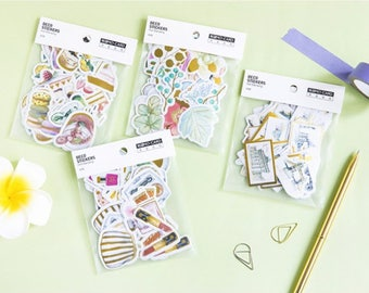 45 Pieces of Foil Stickers - Cosmetics, Cities, Sweets, Flowers, Planner, Journal, Craft, Scrapbooking, Decoration